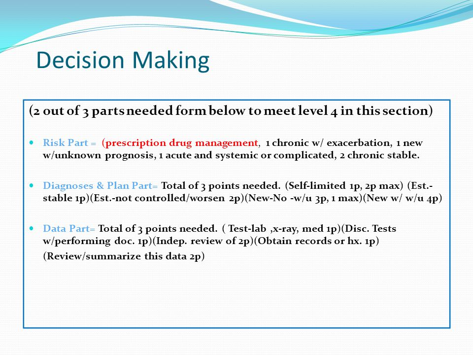 Decision Making (2 out of 3 parts needed form below to meet level 4 in this section)