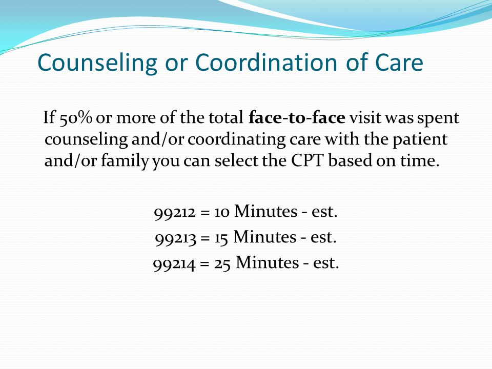 Counseling or Coordination of Care