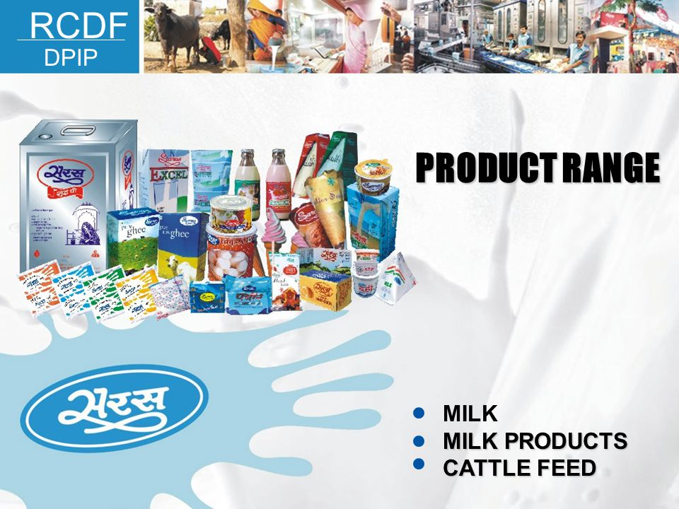 RCDF DPIP PRODUCT RANGE MILK MILK PRODUCTS CATTLE FEED