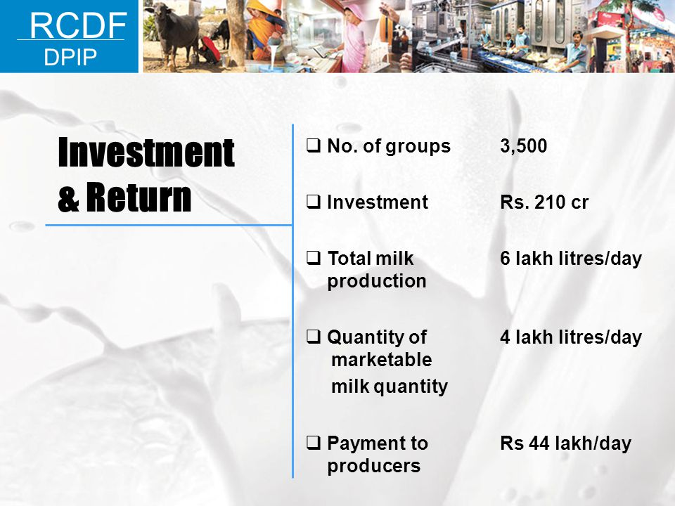 Investment & Return RCDF DPIP No. of groups 3,500 Investment