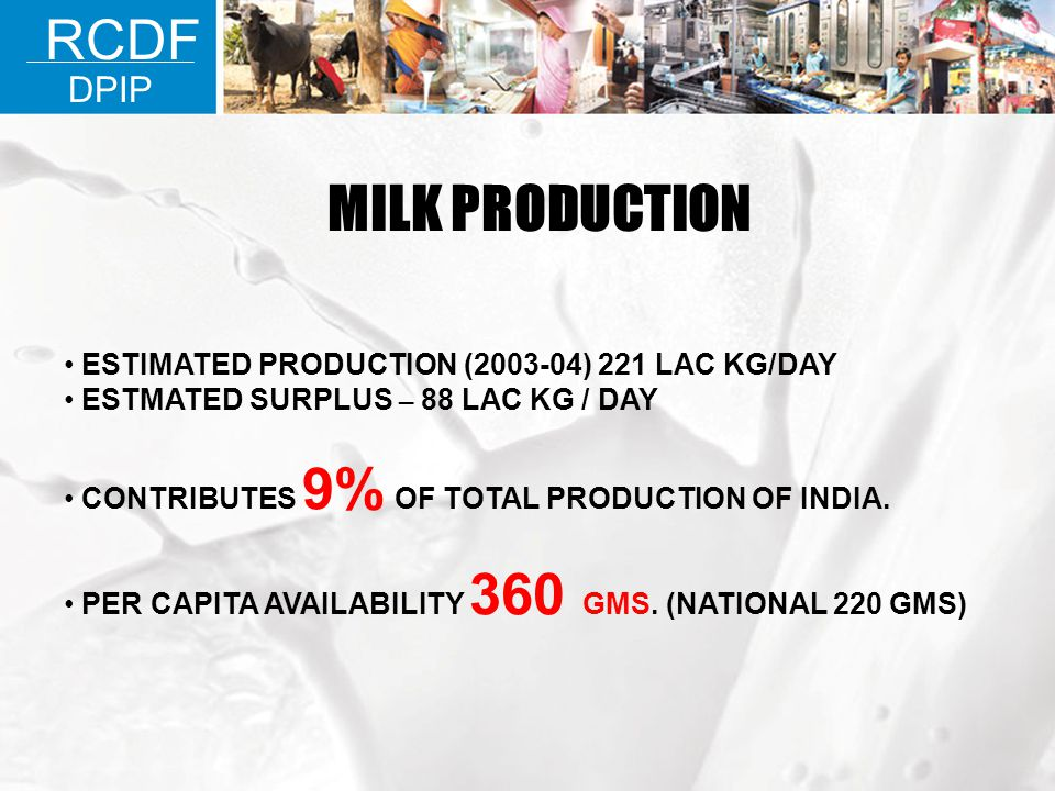 MILK PRODUCTION RCDF DPIP