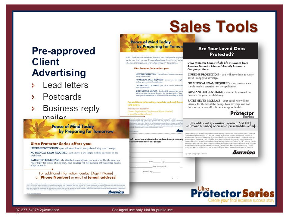 Sales Tools Pre-approved Client Advertising Lead letters Postcards