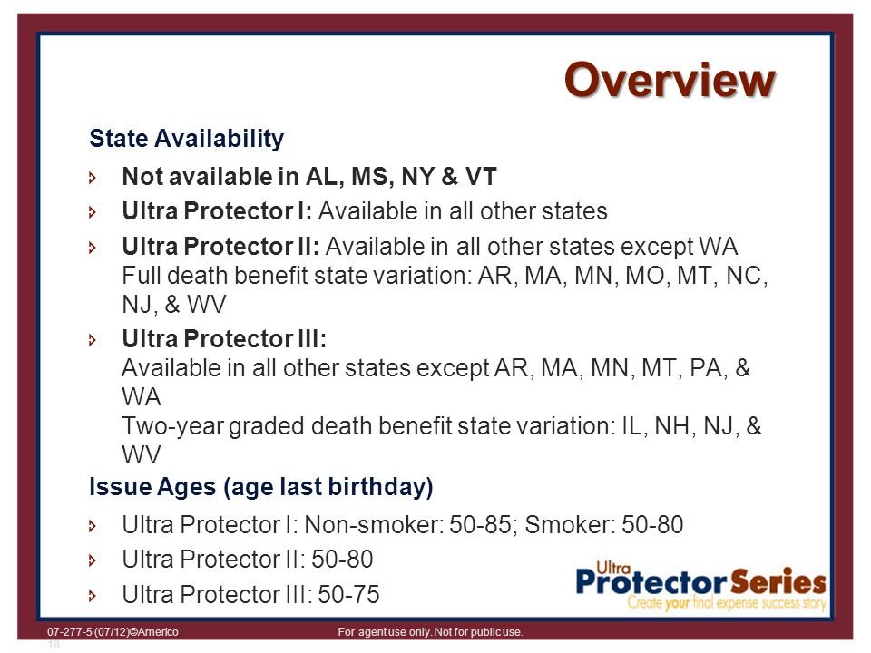 Overview State Availability Not available in AL, MS, NY & VT