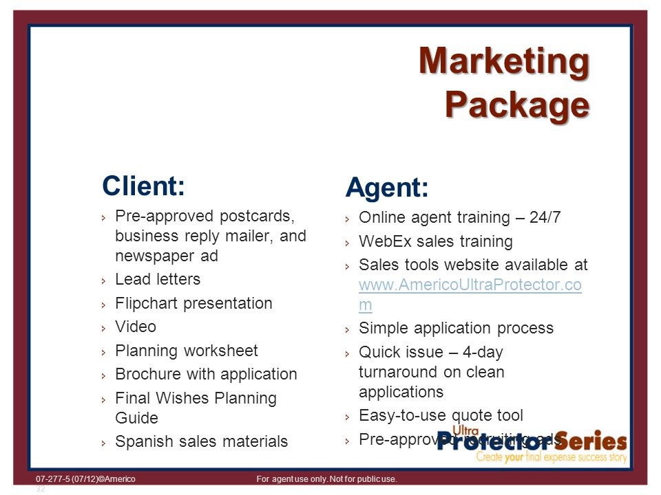 Marketing Package Client: Agent: