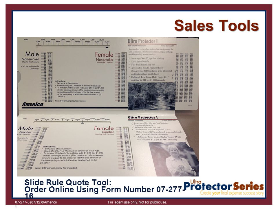 Sales Tools Slide Rule Quote Tool: Order Online Using Form Number 07-277-16