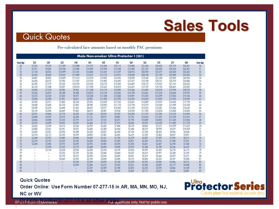 Sales Tools Quick Quotes Order Online: Use Form Number 07-277-15 in AR, MA, MN, MO, NJ, NC or WV Or Form Number 07-277-13 in all other states.