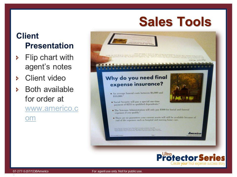 Sales Tools Client Presentation Flip chart with agent's notes