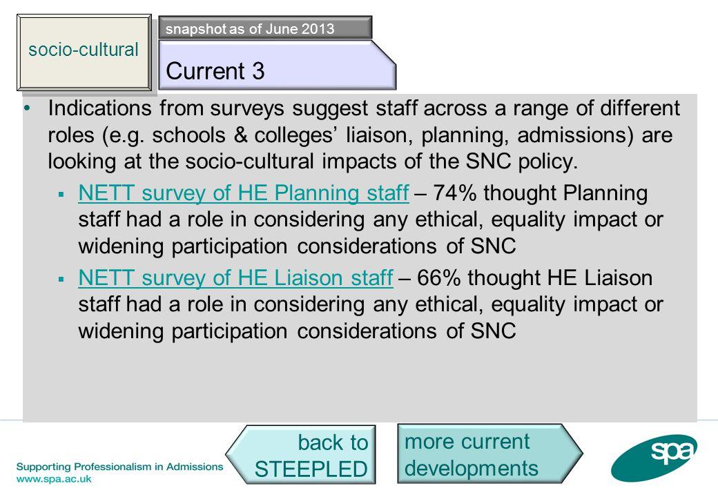 socio-cultural snapshot as of June 2013. Socio c3. Current 3.