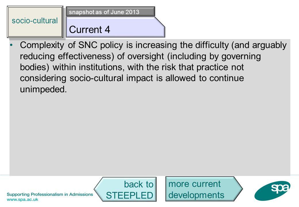 socio-cultural snapshot as of June 2013. Socio c4. Current 4.