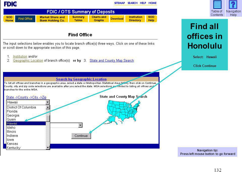 Find all offices in Honolulu Press left mouse button to go forward