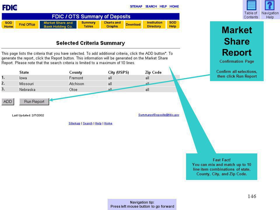 Market Share Report Confirmation Page