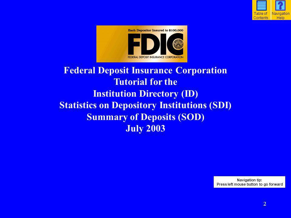Federal Deposit Insurance Corporation Tutorial for the