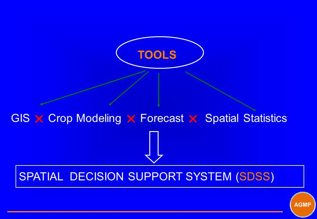 TOOLS GIS  Crop Modeling  Forecast  Spatial Statistics SPATIAL DECISION SUPPORT SYSTEM (SDSS)