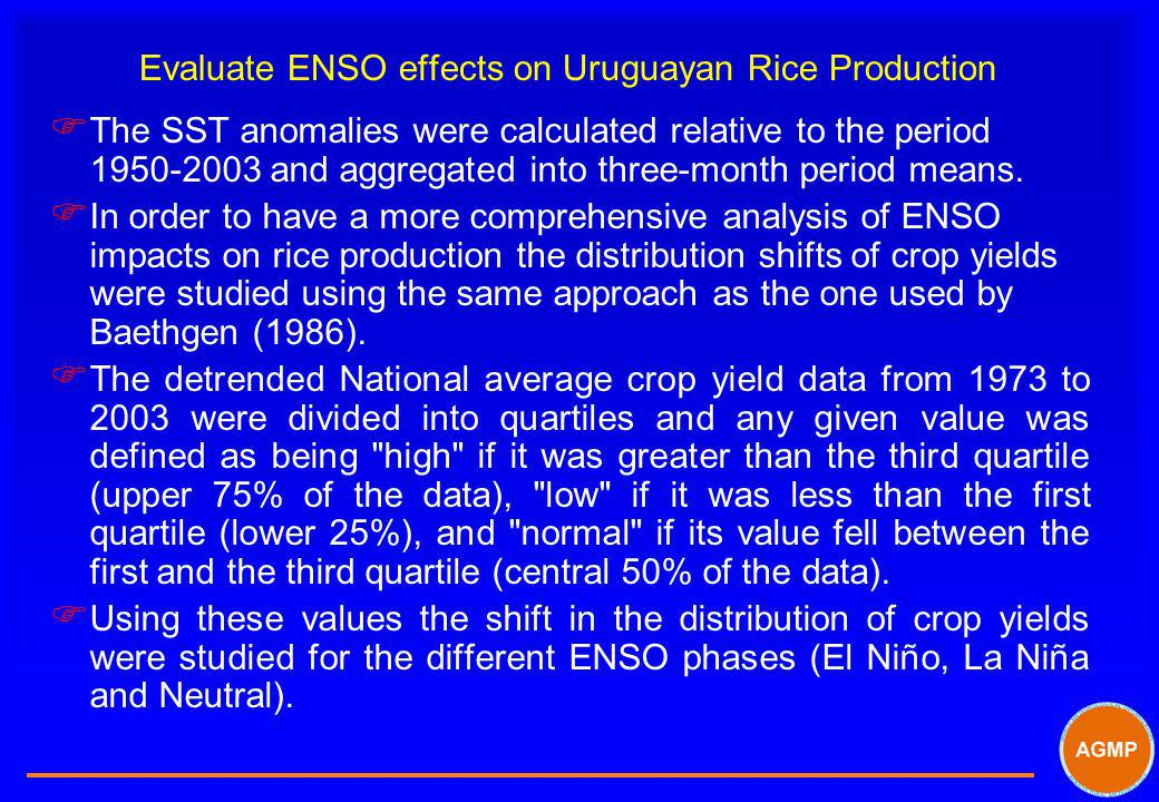 Evaluate ENSO effects on Uruguayan Rice Production