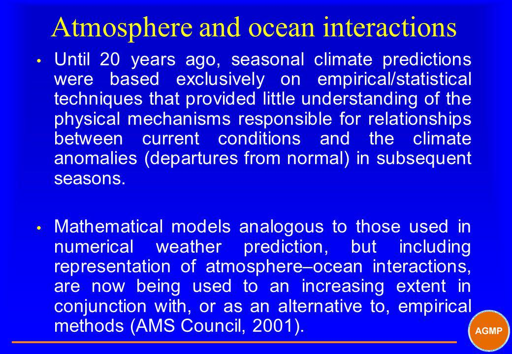 Atmosphere and ocean interactions