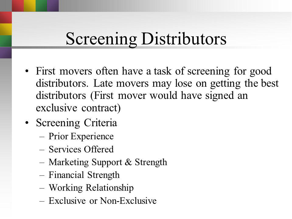Screening Distributors