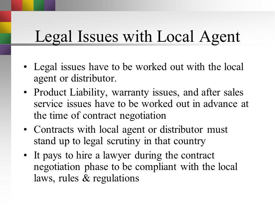 Legal Issues with Local Agent
