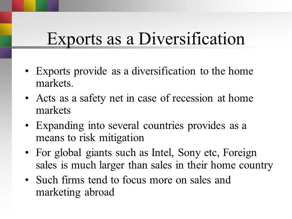 Exports as a Diversification