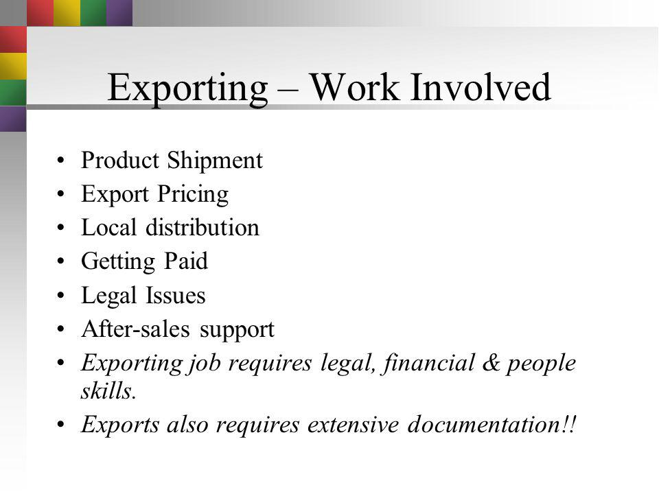 Exporting – Work Involved