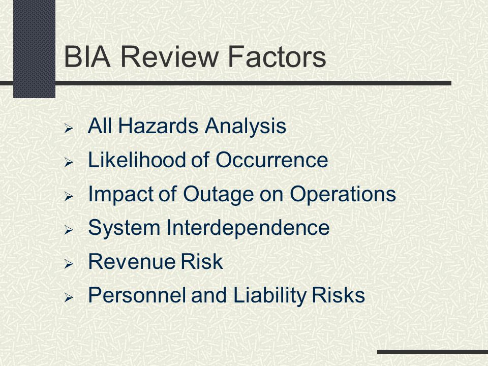 BIA Review Factors All Hazards Analysis Likelihood of Occurrence
