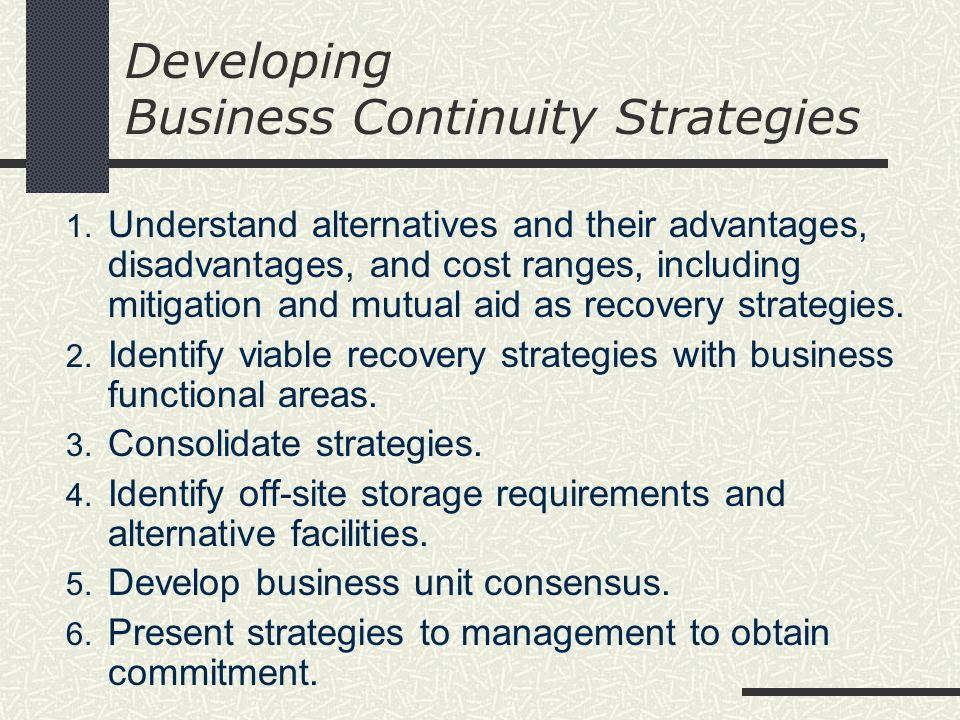 Developing Business Continuity Strategies