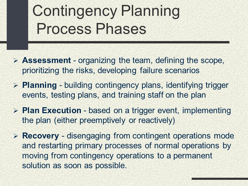Contingency Planning Process Phases