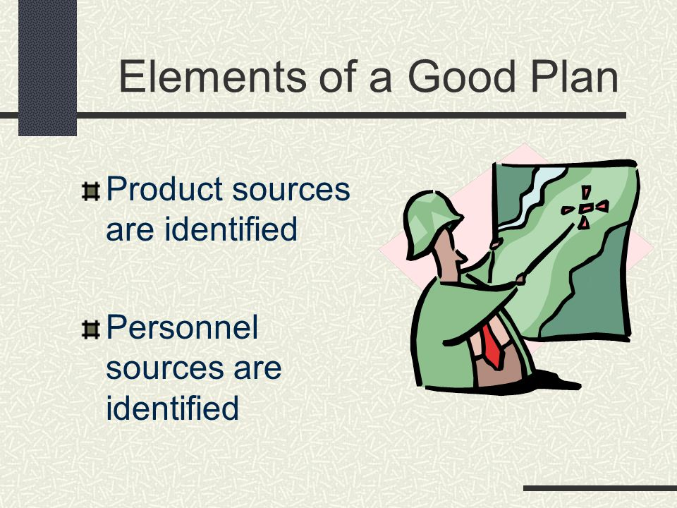 Elements of a Good Plan Product sources are identified