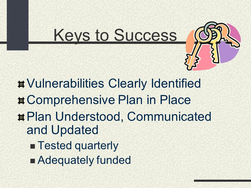 Keys to Success Vulnerabilities Clearly Identified