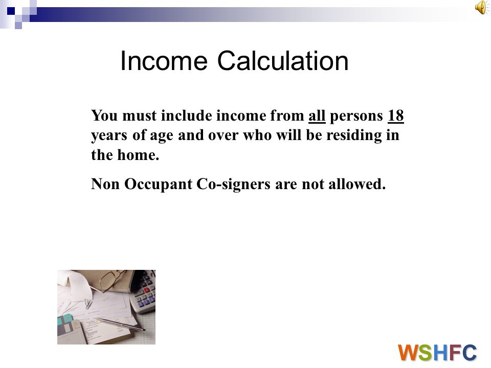 Income Calculation WSHFC