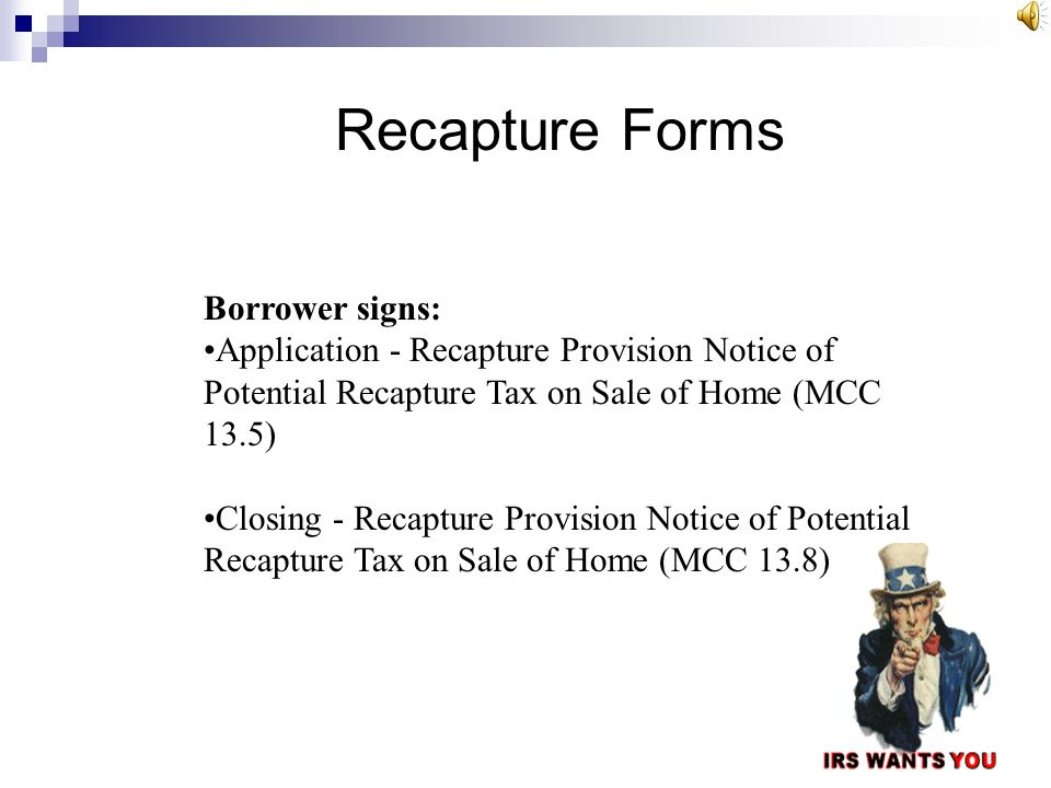 Recapture Forms Borrower signs: