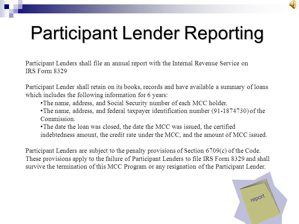 Participant Lender Reporting