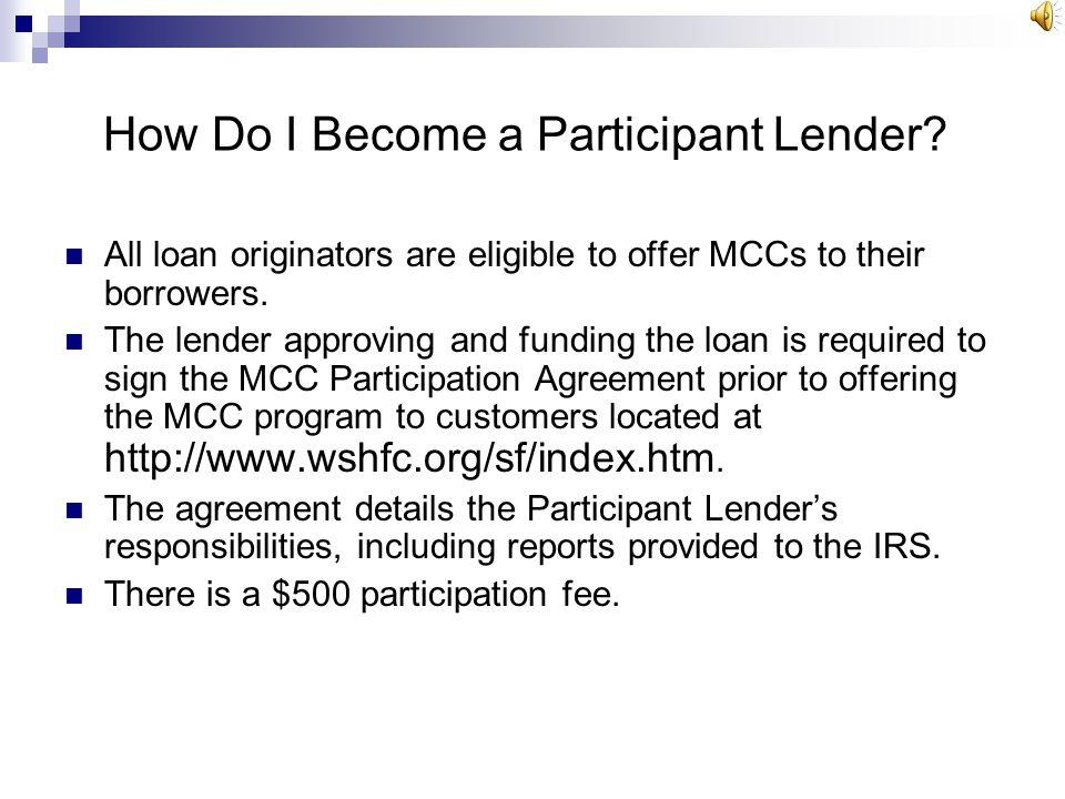 How Do I Become a Participant Lender