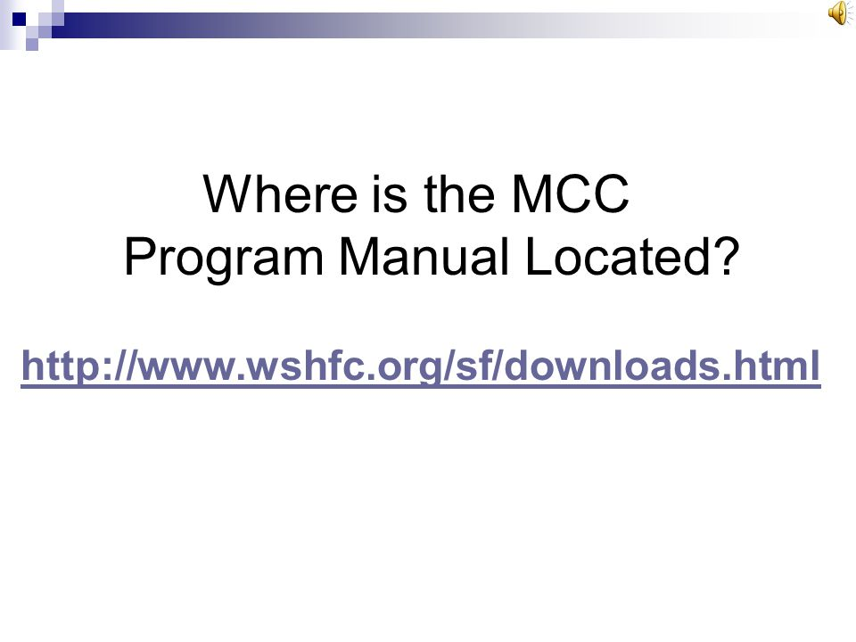 Where is the MCC Program Manual Located