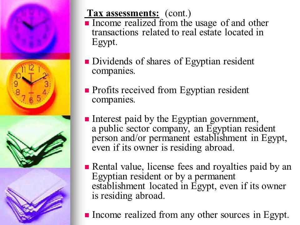 Tax assessments: (cont.)