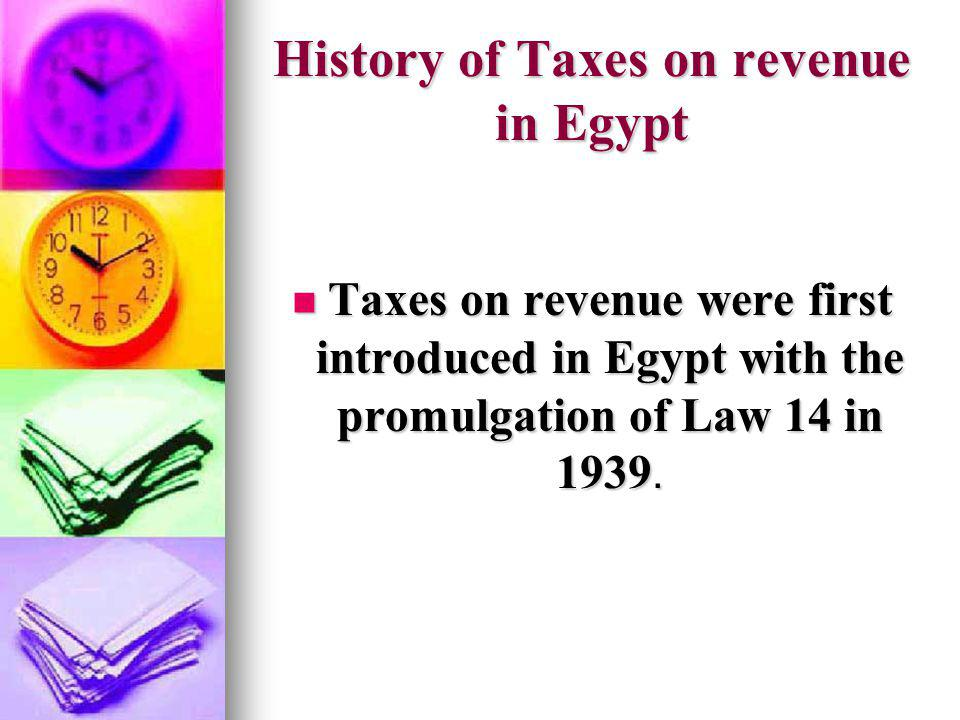 History of Taxes on revenue in Egypt