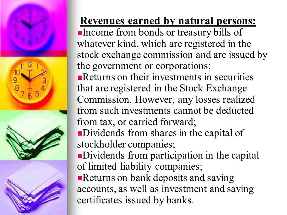 Revenues earned by natural persons: