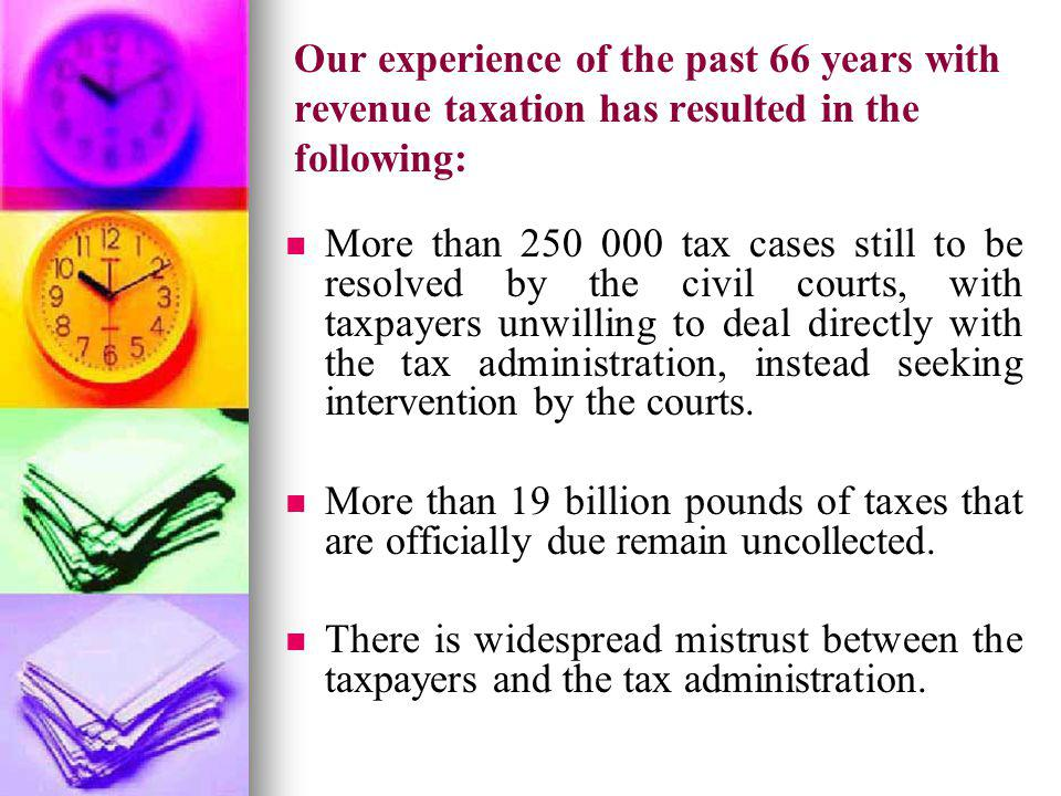 Our experience of the past 66 years with revenue taxation has resulted in the following: