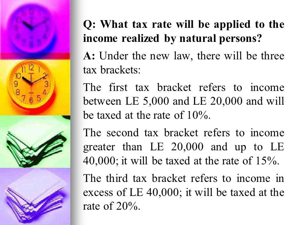 Q: What tax rate will be applied to the income realized by natural persons