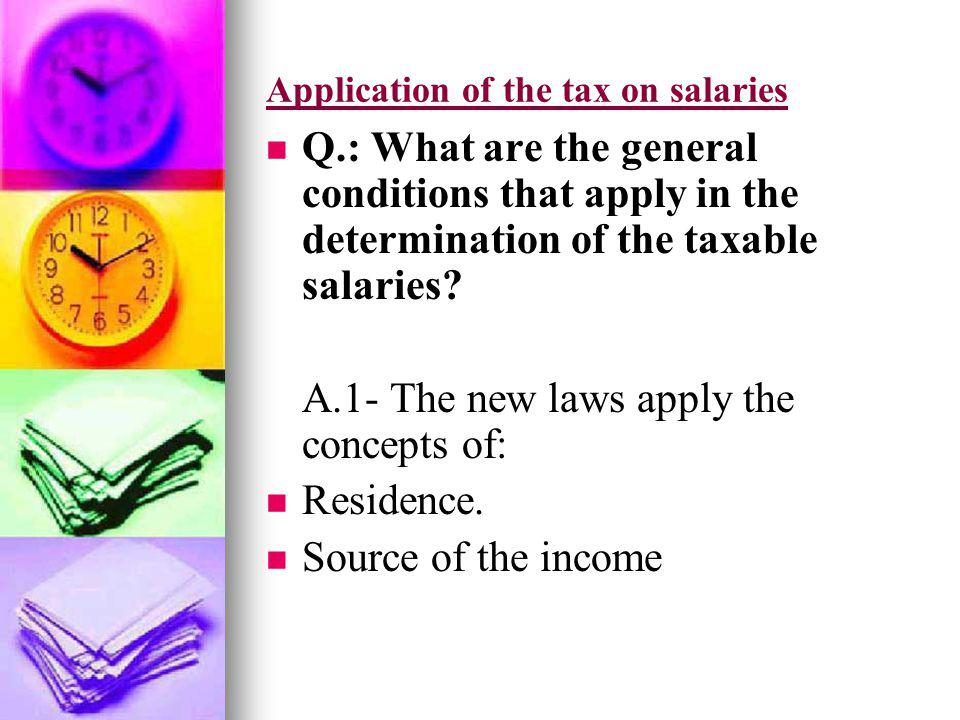 Application of the tax on salaries