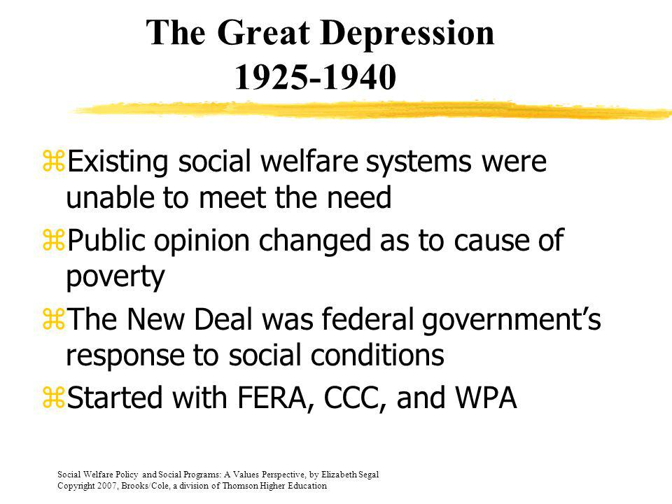 The Great Depression 1925-1940 Existing social welfare systems were unable to meet the need. Public opinion changed as to cause of poverty.