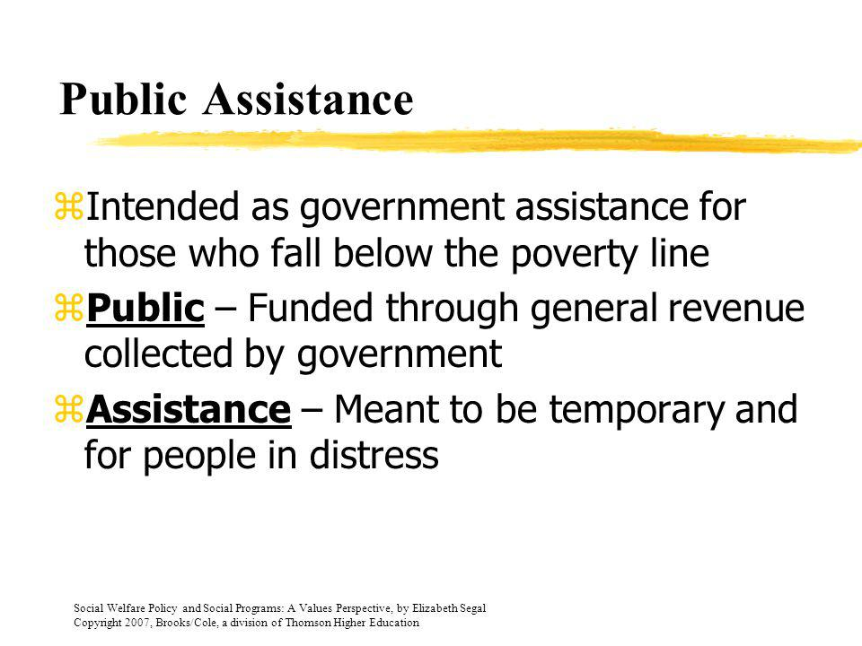 Public Assistance Intended as government assistance for those who fall below the poverty line.