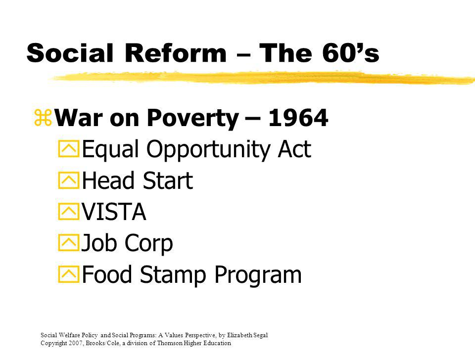 Social Reform – The 60's War on Poverty – 1964 Equal Opportunity Act