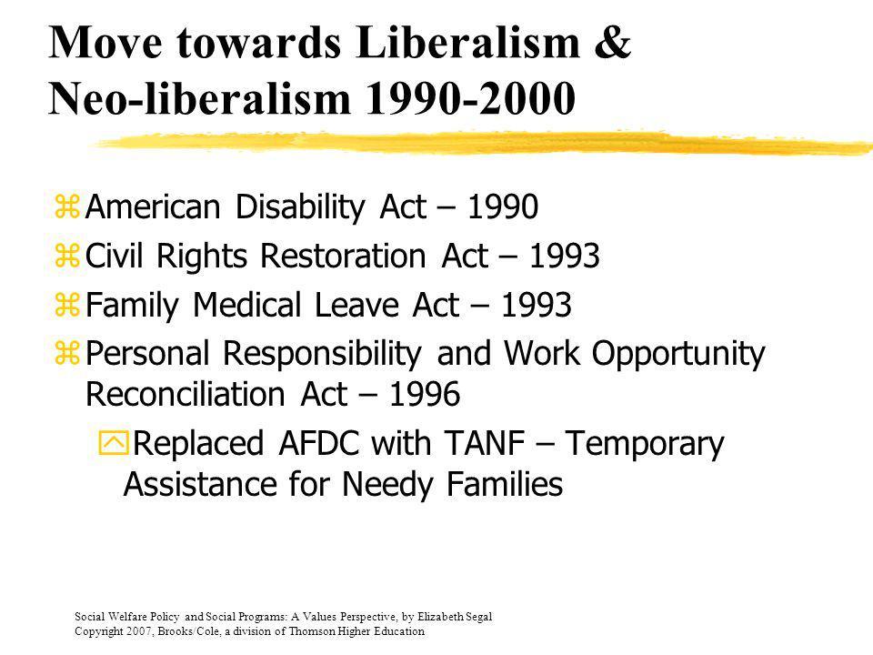 Move towards Liberalism & Neo-liberalism 1990-2000