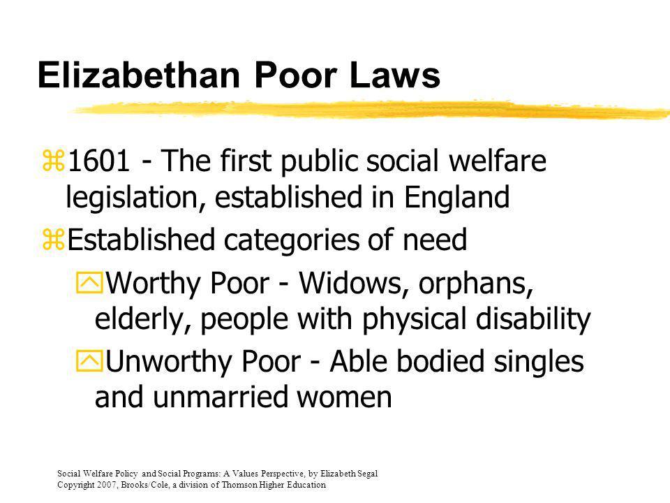 Elizabethan Poor Laws 1601 - The first public social welfare legislation, established in England. Established categories of need.