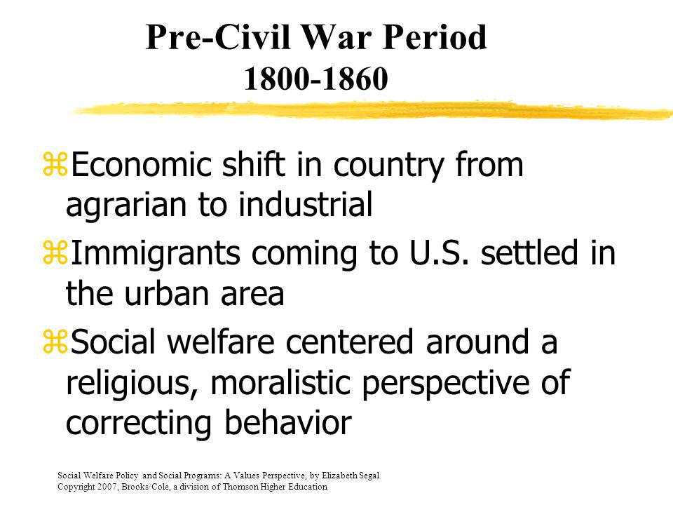 Pre-Civil War Period 1800-1860 Economic shift in country from agrarian to industrial. Immigrants coming to U.S. settled in the urban area.