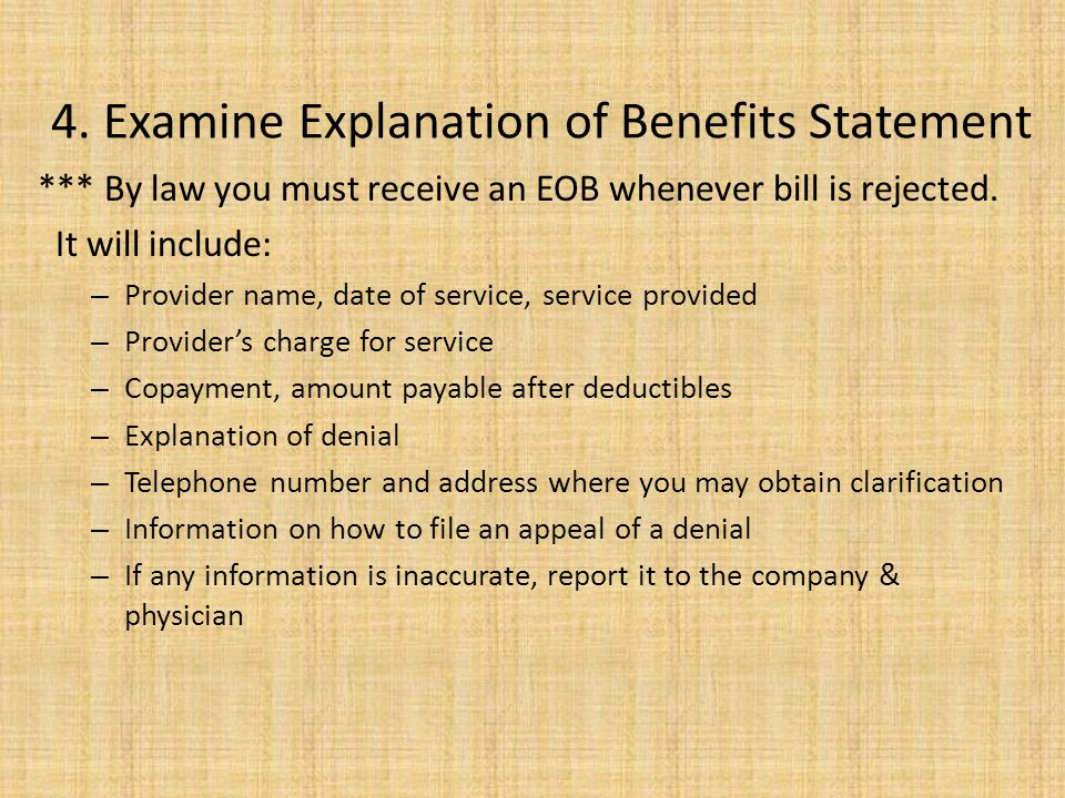 4. Examine Explanation of Benefits Statement