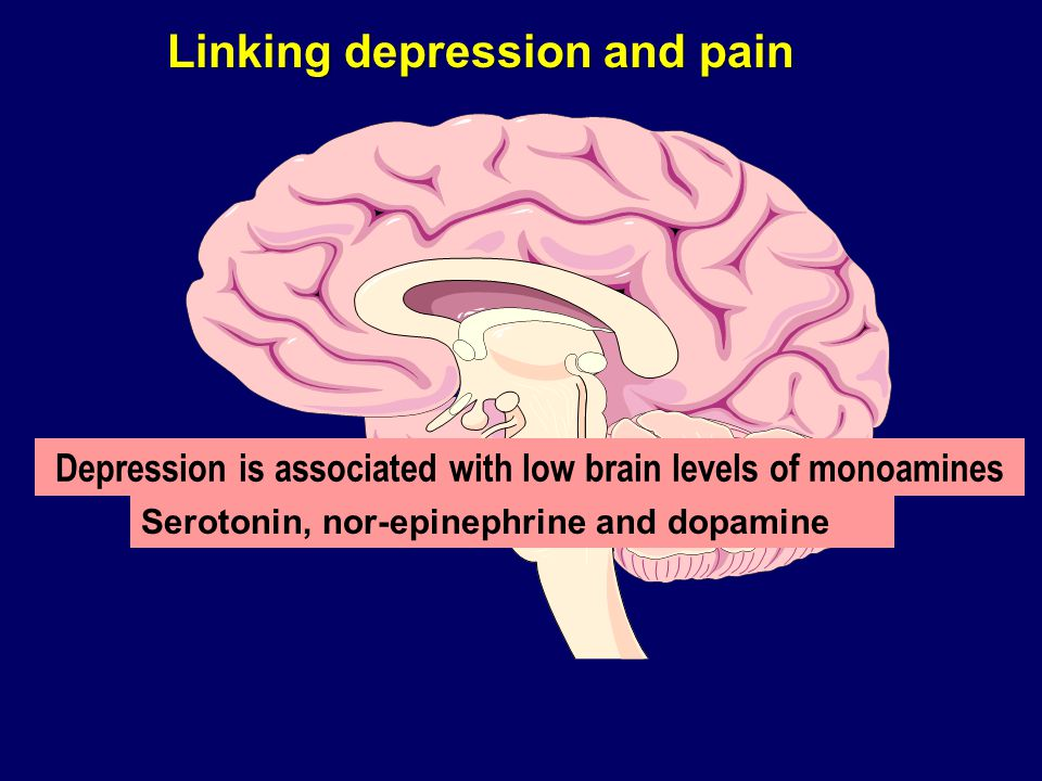 Depression is associated with low brain levels of monoamines