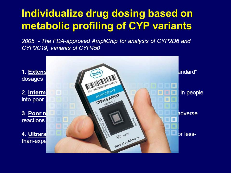 Individualize drug dosing based on metabolic profiling of CYP variants