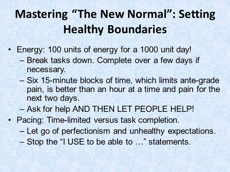 Mastering The New Normal : Setting Healthy Boundaries