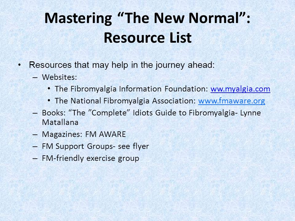 Mastering The New Normal : Resource List
